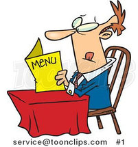 Cartoon White Guy Sitting at a Table and Reading a Menu at a Restaurant by Ron Leishman