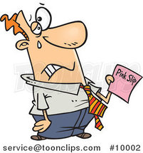 Cartoon Sad Business Man Holding a Pink Slip by Ron Leishman