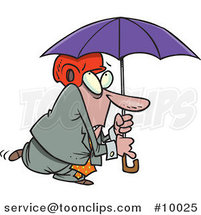 Cartoon Paranoid Business Man Wearing a Helmet Under an Umbrella by Ron Leishman