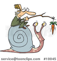 Cartoon Business Man Progressing a Snail with a Carrot by Ron Leishman