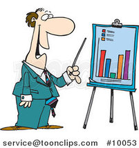 Cartoon Business Man Discussing a Bar Graph by Toonaday