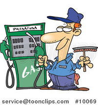 Cartoon Gas Station Attendant by Ron Leishman