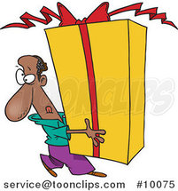 Cartoon Black Guy Holding a Giant Gift by Ron Leishman