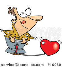 Cartoon Guy Pumping up a Heart by Toonaday