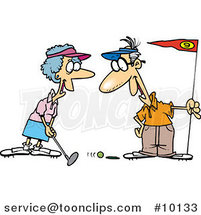 Cartoon Retired Couple Golfing by Ron Leishman