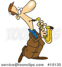 Cartoon Sax Player by Toonaday