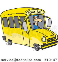 Cartoon School Bus Driver by Ron Leishman