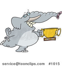 Cartoon Successful Elephant Holding a Trophy Cup by Ron Leishman