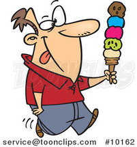 Cartoon Guy with Lots of Ice Cream Scoops by Ron Leishman