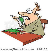 Cartoon Guy Eating Salad by Ron Leishman
