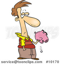 Cartoon Guy Reaching into His Piggy Bank by Toonaday