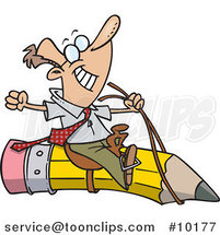 Cartoon Satisfied Business Man Riding a Pencil by Ron Leishman