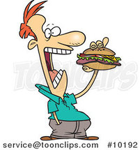 Cartoon Guy Eating a Sandwich by Ron Leishman