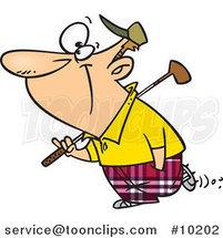 Cartoon Golfing Guy by Ron Leishman