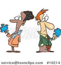 Cartoon Puzzled Businessman and Lady by Ron Leishman