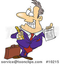Cartoon Salesman Holding a Contract by Ron Leishman