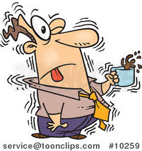 Cartoon Shaky Business Man with Coffee by Ron Leishman