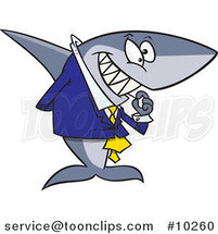 Cartoon Business Shark Picking His Teeth by Ron Leishman