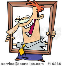 Cartoon Business Man Holding up a Frame by Ron Leishman