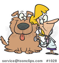 Cartoon Female Vet Using a Stethoscope on a Dog by Ron Leishman