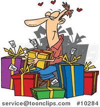Cartoon Guy Giving Himself Gifts by Ron Leishman