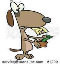 Cartoon Dog Pulling Cash out of His Wallet to Pay a Vet Bill by Ron Leishman