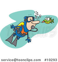 Cartoon Fish Sticking His Tongue out at a Scuba Diver by Ron Leishman