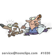 Cartoon Vet Chasing a Dog for a Neuter Surgery by Ron Leishman