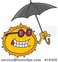 Cartoon Sun Holding an Umbrella by Toonaday