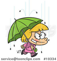 Cartoon Happy Girl with an Umbrella in the Rain by Ron Leishman