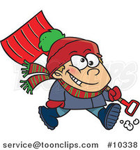 Cartoon Winter Boy Carrying a Snow Shovel by Ron Leishman