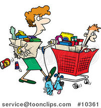 Cartoon Lady Shopping with Her Son by Toonaday