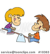 Cartoon Boy and Girl on a Teeter Totter by Ron Leishman