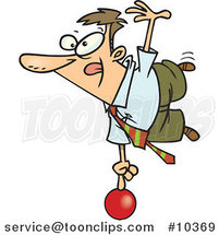 Cartoon Show off Business Man Balanced on a Ball by Ron Leishman