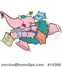 Cartoon Shopping Elephant by Toonaday