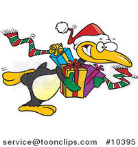 Cartoon Giving Christmas Penguin by Ron Leishman