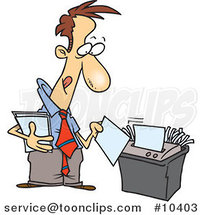 Cartoon Business Man Using a Shredder by Ron Leishman
