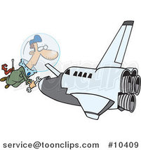 Cartoon Shuttle Mechanic Working by Ron Leishman