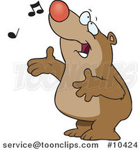 Cartoon Singing Bear by Toonaday
