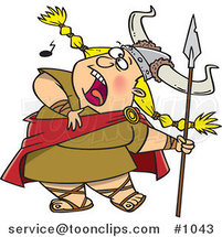 Cartoon Blond Female Viking Singing a Song and Holding a Spear by Ron Leishman