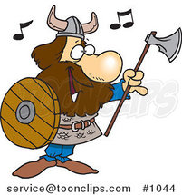 Cartoon Viking Holding an Ax and Shield and Singing by Ron Leishman