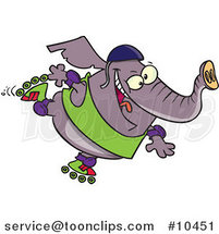 Cartoon Roller Blading Elephant by Toonaday