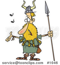 Cartoon Skinny Blond Viking Holding a Speark and Singing by Ron Leishman