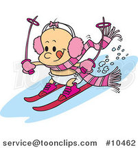 Cartoon Baby Girl Skiing by Ron Leishman