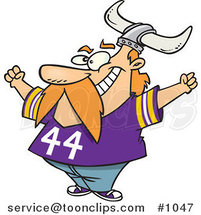Cartoon Viking Fan Wearing a Purple Shirt and Helmet and Cheering by Ron Leishman
