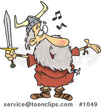 Cartoon Old Viking Holding a Sword and Singing by Ron Leishman