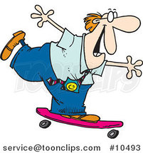 Cartoon Business Man Skateboarding by Ron Leishman