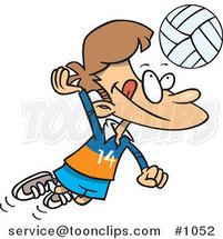 Cartoon Boy Hitting a Volleyball by Ron Leishman