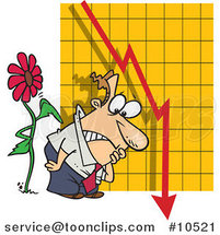 Cartoon Flower Tapping on a Guy by a Failing Chart by Ron Leishman