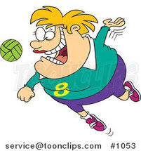 Cartoon Chubby Female Volleyball Player Jumping to Hit the Ball by Ron Leishman